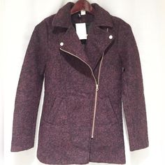 """H&M Divided Purple & Black Moto Style Jacket New with tags. Retail price is $59.99. Size 2. Divided line from H&M. I'm 5' 2"""" and this jacket covers my butt. H&M Jackets & Coats"""
