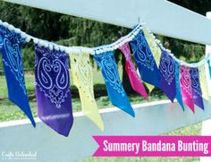 10 SUMMER DIY FROM CRAFTSUNLEASHED.COM I WILL USE PINK BANDANAS for MY CANCER SURVIVOR THEMED PARTY. (DIY-bandana-bunting-Crafts-Unleashed)Consumer Crafts Summer Party (Cancer Survivor Themed Party) #ConsumerCrafts #Summer Party