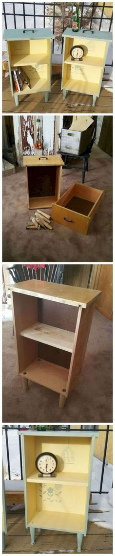 Creative and Easy DIY Furniture Hacks Upcycled Drawers to Side Tables: Get some old drawers and turned them into bright side tables. Diy Furniture Hacks, Old Furniture, Refurbished Furniture, Repurposed Furniture, Furniture Projects, Furniture Makeover, Wood Projects, Woodworking Projects, Furniture Outlet
