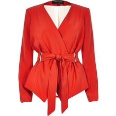 River Island Red fitted belted blazer ($84) ❤ liked on Polyvore featuring outerwear, jackets, blazers, coats, blazer, red, belted jacket, red jacket, long sleeve blazer and blazer jacket