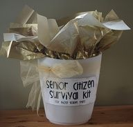 Senior Citizen survival kit:  with energizer batteries, antacids, Iron starch, socks, puzzle, Act II popcorn, etc. - all with cute sayings.  have got to remember this for my parents birthdays!!!