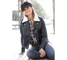 Sako s imitáciou kožušiny Leather Jacket, Zip, Jackets, Fashion, Jacket, Studded Leather Jacket, Down Jackets, Moda, Leather Jackets