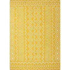 Jaipur Rugs FlatWeave Tribal Pattern Yellow/Ivory Wool Area Rug UB19 (Rectangle)