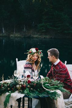 Holiday Sweetheart Table with a Botanical Greenery Runner | Nicole Colwell Photography | Festive Styled Wedding in the Winter Woods - with a Corgi in a Holiday Sweater!