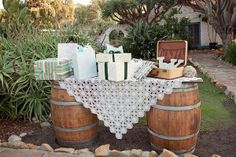 love the barrels and homemade table for gifts