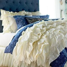 inspired by our love of petticoats!!! the Junk Gypsy Rockin' Ruffle Quilt + Sham, Ivory