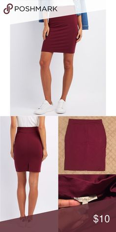 """Charlotte Russe Ponte Knit Pencil Skirt Charlotte Russe Ponte Knit Pencil Skirt in burgundy »→ m »→ fits like a s »→ rayon, nylon, spandex »→ length: 18"""" »→ waist laid flat: 12"""" »→ worn a few times, in great condition »→ no flaws, also available in black Charlotte Russe Skirts Pencil"""