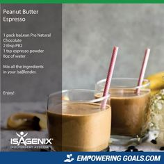 Amazing protein shake recipes by Isagenix. Learn how the amazing Isalean Shake can fuel you with 24 grams of indentured protein as well as needed vitamins and minerals to make a complete meal replacement shake that tastes amazing Protein Shake Recipes, Protein Shakes, Smoothie Recipes, Whey Recipes, Protein Smoothies, Milkshake Recipes, Whey Protein, Fruit Smoothies, Clean Eating Snacks