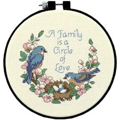 "Learn A Craft Family Love Counted Cross Stitch Kit 6"" Round 6"" Round 