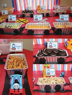 Thomas Birthday Parties, Thomas The Train Birthday Party, Birthday Party Snacks, 2nd Birthday Party Themes, Trains Birthday Party, Car Party, 3rd Birthday, Birthday Ideas, Happy Birthday