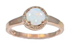 Genuine Opal  Diamond Round Ring 14Kt Rose Gold Plated Over 925 Sterling Silver -- Be sure to check out this.