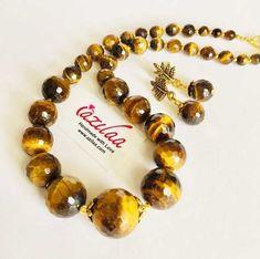 Gemstone Necklace, Necklace Set, Gemstone Beads, Beaded Necklace, Beaded Bracelets, Tigers Eye Gemstone, Mind Blown, Handicraft, Earring Set
