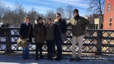 Some members of Ursuline's Historic Preservation Conservation Studio class pose in front of the waterfall in Chagrin Falls during their field study on brickwork and masonry.  Do you suppose they stopped in the Popcorn Shop next door for hot chocolate? Left to right:  Aly, Marissa, Julia, Rachel, and John Burnell, faculty, master restoration specialist, and principal of Mason's Mark, LLC.