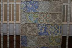 Crib Quilt, Rag Quilt, Boy, Girl, cobalt blue, lime green, Baby Shower Gift, Nursery Bedding, All Natural, Handmade by littlesunshinequilts. Explore more products on http://littlesunshinequilts.etsy.com