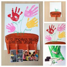 Flower Handprints DIY Craft Kit:  Hand Painted Canvas 11x14 on Etsy, $32.80