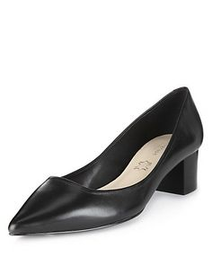 Leather Wide Fit Pointed Toe Shoes with Insolia®. Sadly out of stock but these would have been perfect -- pointy toe but a sturdy granny style block heel.