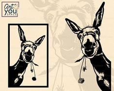 Donkey Svg files for cricut Funny farm animal clipart Animal Heads, Animal Faces, Cnc Plasma, Clipart, Donkey Images, Cute Donkey, Svg Files For Cricut, Cricut Vinyl, Farm Animals