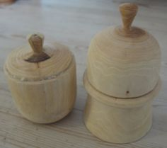 Woodturning - boxes in fresh cut wood - by Sophia Aisinger