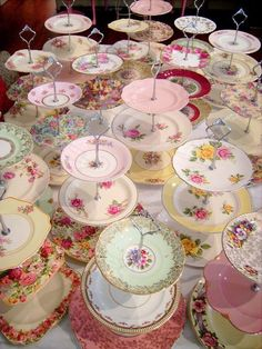 good idea for my mismatched plates-Vintage Cake Stand & Candy Bar Hire - The Vintage Table Vintage Tee, Vintage Bridal, Tiered Cake Stands, Bar A Bonbon, Vintage Tea Parties, Vintage Cake Stands, Vintage Dishes, Vintage China, Vintage Plates