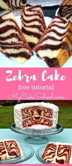 How to Make a Zebra Cake with Stripes on the Inside! Free cake tutorial by MyCakeSchool.com! #zebracake #chocolate #caketutorial #mycakeschool