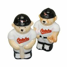 """Baltimore Orioles Salt & pepper Shaker . $9.95. take pride in your team. ceramic shakers will add to any table or party. Great for any baseball fan. This is the Baltimore Orioles Salt & pepper Shaker Set.   Perfect item for yourself or that favorite Orioles Fan on your shopping list.   Great to display, use on a daily basis.  approx 4 1/2"""" tall x 2 1/2"""" wide"""