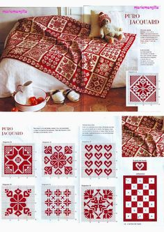 just a photo of beautiful red and white pattern - I think for knitting - but u can do cross-stitch embroidery or crochet too --- on a Russian site --- Вязание спицами: узо Knitted Afghans, Knitted Blankets, Drops Design, Knitting Charts, Knitting Stitches, Knit Patterns, Cross Stitch Patterns, Double Knitting Patterns, Fair Isle Knitting Patterns