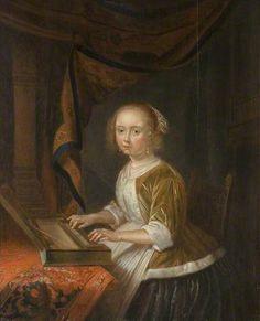 Girl Playing a small harpsichord or clavichord by Gerrit Dou, dutch artist, b. 1613, d. 1675