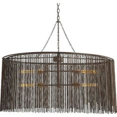 Lighting - Oval 4-light chandelier features a 2-layer fringe of dark antique brass finished hanging iron beads with coordinated hanging hardware.