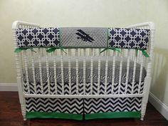 Baby Crib Bedding Set Yeager -  Airplane Crib Bedding, Baby Boy Bedding, Crib Rail Cover, Navy and Kelly Green Crib Bedding