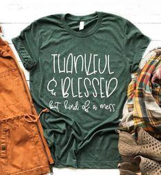 Thankful Shirt Thankful T-shirt Thankful and Blessed Fall   Etsy