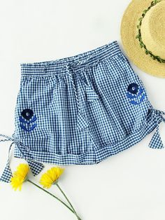 Shein Flower Embroidered Self Tie Cuffed Gingham Shorts