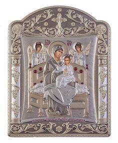 Virgin Mary Pantanassa - Greek Christian Orthodox Silver Icon, Grey 16.7x22.4 cm