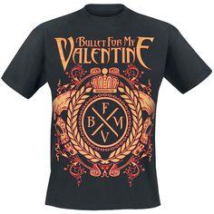 """Classica T-Shirt uomo nera """"Crest Logo"""" dei #BulletForMyValentine con scollo tondo e ampia stampa frontale."""