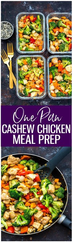 These Cashew Chicken Meal Prep Bowls are a delicious, healthy lunch idea that comes together in one pan with a simple Asian-inspired sauce!
