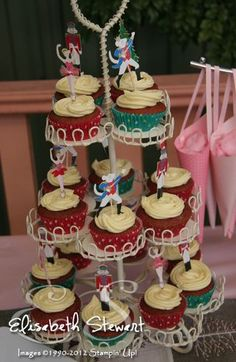 Nutcracker Red Velvet cupcakes - cute cupcake topper idea for Nutcracker party