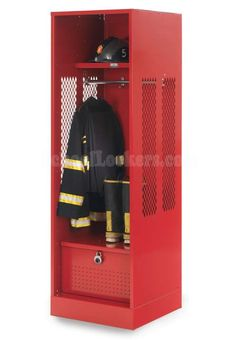 Military/Police Locker for Turnout Gear--our heavy duty TA-50 turnout lockers are popular with the military, police, firefighters and EMT/first responders. Allows PPE to hang freely in open body of locker while still providing seating and lockable bulk storage in the foot locker.