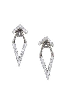 """Double V Ear Jackets in Sterling Silver with Cubic Zirconium Stones.    Measures: .75"""" L x .25"""" W   V Ear Jackets by Lolly Ella. Accessories - Jewelry - Earrings - Ear Cuffs Michigan"""