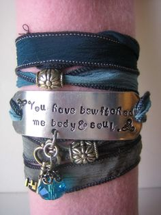 Hand Stamped  Hand Dyed Silk Ribbon Bracelet  Pride by thepurediva, $20.00