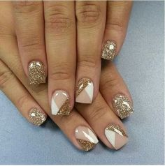 Gold glitter white and tan gel nails