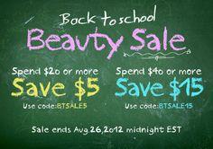 Back to school beauty sale