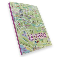 Australian Made Gifts & Souvenirs with the Map of Melbourne Notebook -by La La Land. For the best Australian online shopping for a Note Pads Australian Online Shopping, Melbourne Map, Office Stationery, Guide Book, Notebook, Illustration, Maps, Gifts, Books