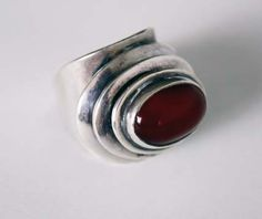 Art Smith Ring Silver and cornelian Signed 1 1/4 high x 1  wide x 1  deep $3800