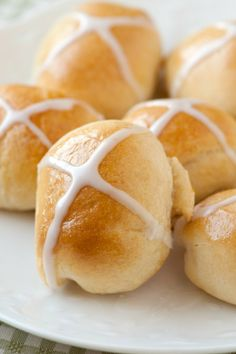 A modern twist on the traditional hot cross bun - full of lemon and ginger flavor.