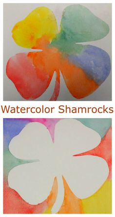 Positive and negative art. Contact paper resist watercolor art ideas. Shamrock paintings for St.Patrick's day!
