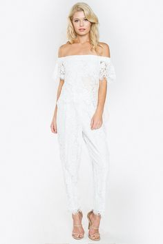 - Off the shoulder scallop hem jumpsuit - Elastic top - Side pockets - Lined - Back zipper - Scallop hem - Comes in 2 colors (white and black) | Shop this product here: http://spreesy.com/Sensualshoesandclothingboutique/11324 | Shop all of our products at http://spreesy.com/Sensualshoesandclothingboutique    | Pinterest selling powered by Spreesy.com