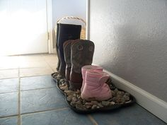 DIY Rock Boot Tray