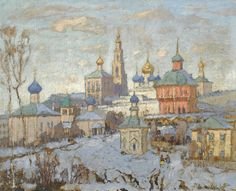 post-impressionism: View of the Novodevichy Monastery 1920 Konstantin Gorbatov View Original Source Here Russian Painting, Russian Art, Classic Paintings, Impressionist Paintings, Art For Art Sake, City Art, French Art, Traditional Art, Love Art