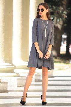 A-line Crewneck 3/4 Sleeve Gray Mini Dress