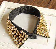 Easy to make studded collars add a pinch of drama to the whole outfit.