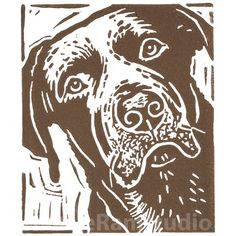 Personalised - Dog Art - Chocolate Labrador Dog - Linocut Print £25.00